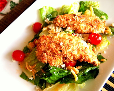 FRENCH'S fried onion crusted chicken breast over a bed of romaine salad