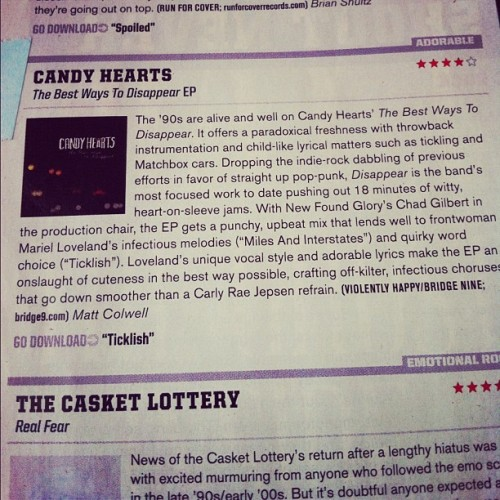 Alternative Press gave us a 4 star review for our new EP. We are so thrilled! It comes out in 5 days, but you can preorder it if you wanna http://www.B9store.com/candyhearts