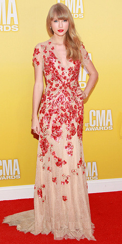 Red Carpet Style: Taylor Swift in Jenny Packham at the CMAs