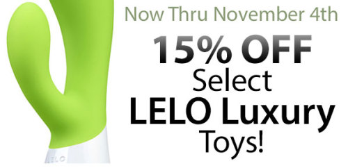 Now Through November 4th get 15% off select Lelo Luxury toys!