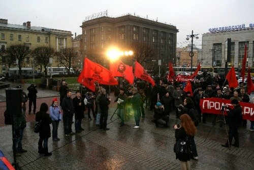 "fuckyeahmarxismleninism:  Leningrad, Russia: November 7 - Our Holiday!   The organizing committee for the preparation and celebration of the 95th anniversary of the October Revolution invites labor organizations - trade unions, political parties and movements, the goals and tasks of the struggle for democracy and socialism, workers, laborers, workers and young students to take part in a rally on Lenin Square (metro station area Lenin, the Finland Station).   Start meeting - 18-00, 17-00 with the area will sound recording of the workers and revolutionary songs. Presentations of companies, workers and other workers' organizations are welcome. Proposals will be accepted.  Contact the Organizing Committee (EIF, ROT FRONT, ""Aurora""), please call 274-80-73, 274-28-18 Photo from news conference announcing the rally: RKRP"