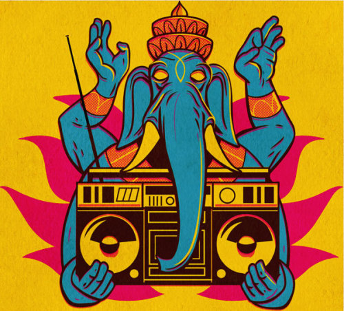 Flickr Favorite by Josh Ellingson / Ganesh on Yellow / Illustration for a client who liked an earlier Ganesh I made, but needed something more specific.  more of my art at:www.joshuaellingson.com  / http://flic.kr/p/6zqb8a