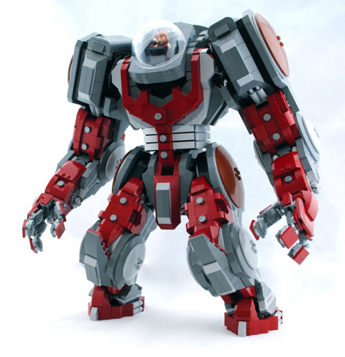 laughingsquid:  Custom Built LEGO Atlas Mech & Marvel Juggernaut Minifigure