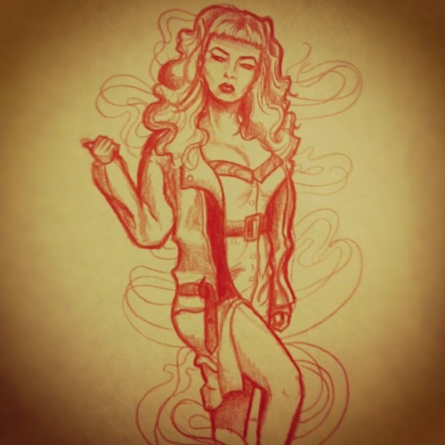 Timed sketch of Traci Lords in Cry Baby. #idkwhatithinkaboutit #hmmm #tracilords #crybaby #crybabymovie #sketch #timedsketch #art #drawing #pencil #coloredpencil #quicksketch #rockabilly #smoke #hitchhiker #hitchhiking