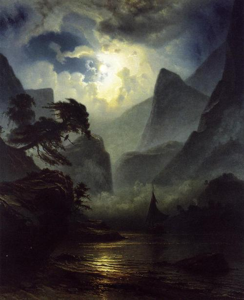lyghtmylife:  Knud Andreassen Baade ( Norwegian painter 1808 - 1879) A Norwegian Fjord by Moonlight, 1855 oil on canvas Private collection
