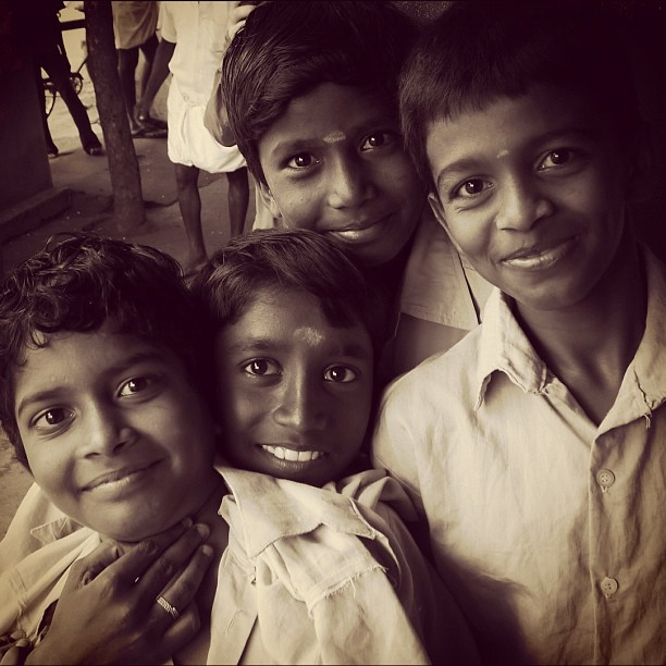 Four Smiles (Leica DL5 w/IG EB) #100cameras #004India #russfoundation #portraits #leicacameras #travel #NGO #humanitarian #tamilnadu #ellisnagar #madurai #India  (at Madurai, India)