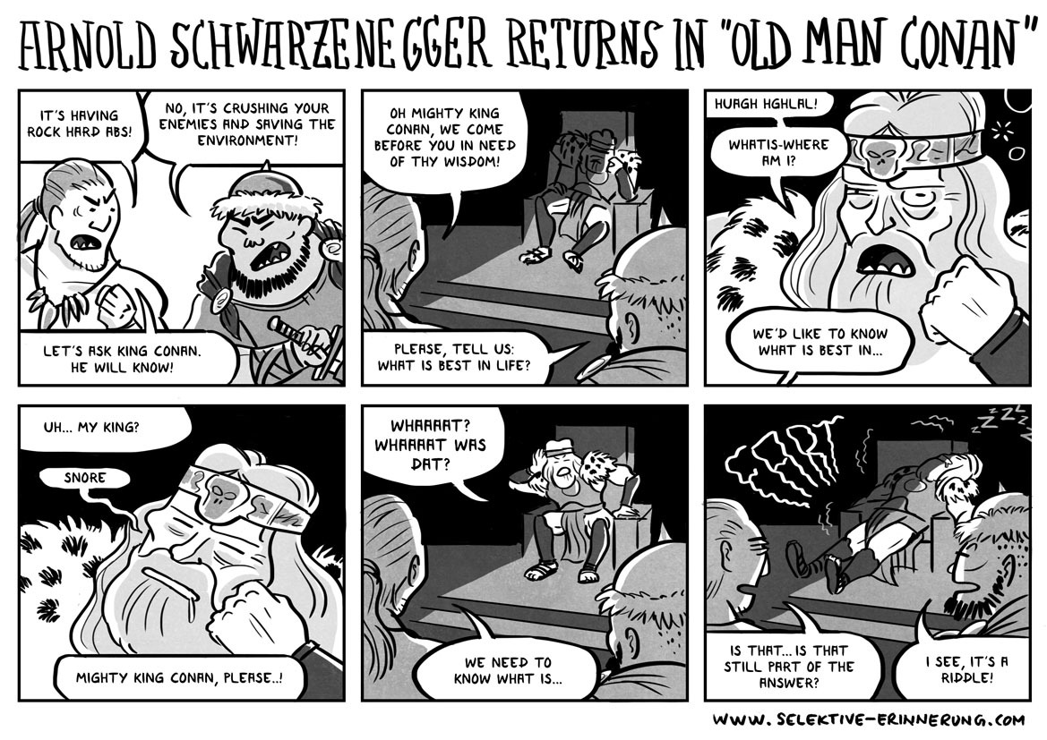 "Arnold Schwarzenegger returns in ""Old Man Conan"""