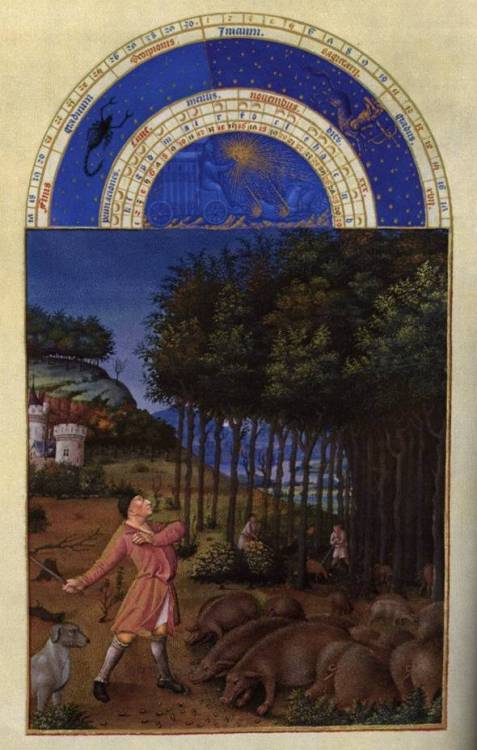 centuriespast:  LIMBOURG brothersLes très riches heures du Duc de Berry: Novembre (November)1412-16Illumination on vellum, 225 x 136 mmMusée Condé, Chantilly