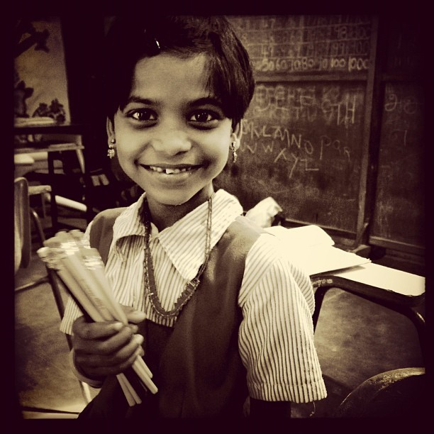 Divya (iP5) #pencils #NGO #100cameras #humanitarian #004India #leicacameras #portraits #russfoundation #tamilnadu #madurai #India  (at Carlsson Primary School)
