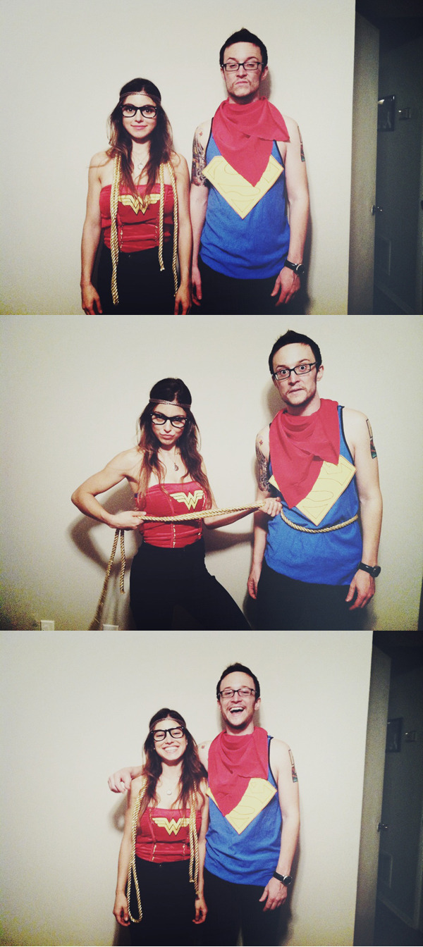 drewsykes:   Urban Outfitters meets DC Comics. My lady and me as Hipster Wonder Woman & Hipster Superman. Halloween 2012.