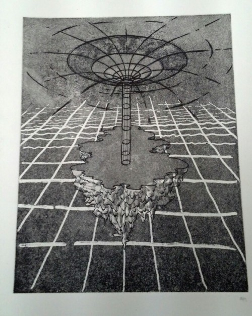 "dinosaursfun:  ~ooze for the parallel dimension~ 9""x11"" etching"