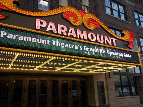 "A sign of a fully functioning theatre - the marquee at the Paramount is fully lit up and promoting the upcoming shows.  Around this time next year it should say ""CRATOS PRESENTS…"""