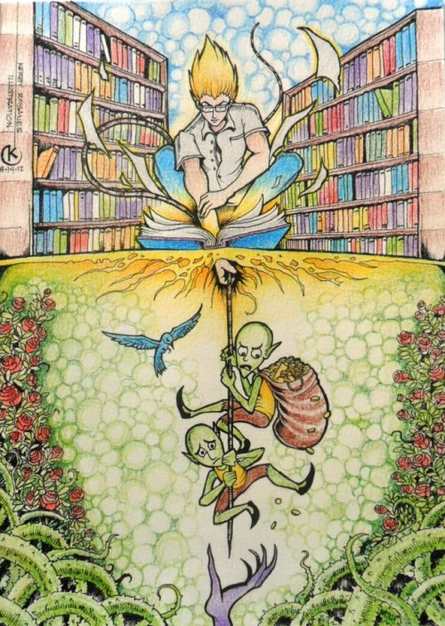 kerbyrosanes:  THE LIBRARIAN (ink and colored pencils on paper) This piece is probably one of my favorites from my fantasy sketchbook. With the popularity of computer technology and the Internet today, is there someone out there missing those days when every knowledge and piece of adventure are found in a library?