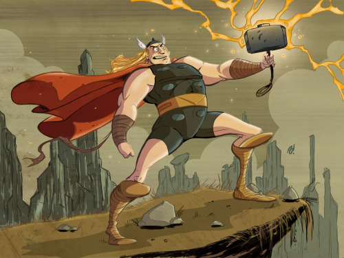 Thor by Dave Bardin Artist website / tumblr via timetravelandrocketpoweredapes