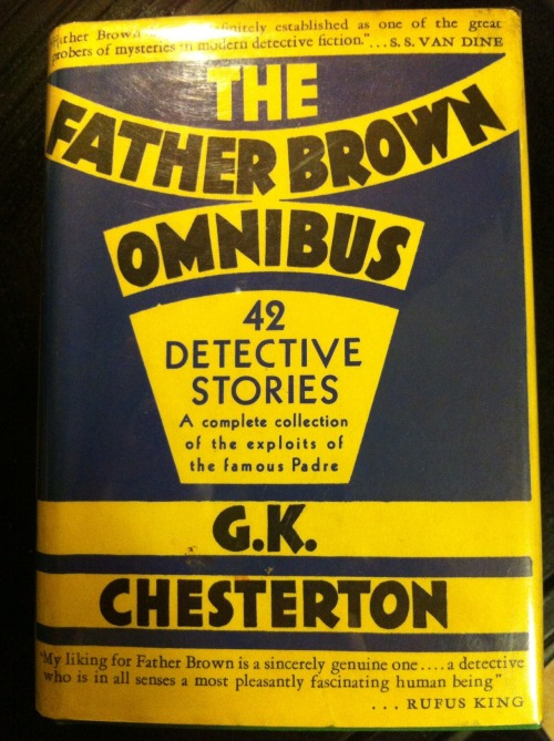 "criminous:  Vintage Crime Recommendation: The Short Stories of Father Brown, by G.K. Chesterton (1874-1936). Based on the Catholic priest who ultimately convinced Chesterton to convert in 1922, these stories feature the intuitive, stocky and unassuming Father Brown, a priest with insight into the human condition and more importantly, humanity's capacity for evil.  Written between 1911 and 1936, the collection features gems like ""The Blue Cross"" and ""The Hammer of God.""  Widely available in paperback and e-book (the above edition is from 1943)."