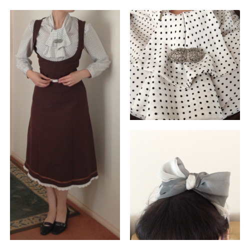 Errand-running day outfit! Dress: Bodyline, Harajuku Shirt: From a friend Shoes: mychemist (what can I say, I'm no vintage snob!) Belt/ headscarf: thrifted Brooch: Vintage (my grandmother's)