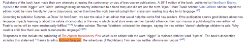 "I was looking at The Adventures of Huckleberry Finn page on wikipedia for a school project, and I thought this would amuse you.   - submitted by adorababble! Haha, I actually knew about this! I wrote a post about it here. Of course, that was before I actually knew what it was. I assumed it was some sort of spoof or parody. Turns out the guy replaced every use of the ""n-word"" with ""hipster"", and he did it as a response to a regular edition which replaced the 'n-word' with ""slave"". Which is less creative, but definitely interesting to think about in terms of the message. Personally, I think replacing the racial slurs in books like Huckleberry Finn, while well-intentioned, is missing the point. These slurs are put there specifically to reflect the racism of the time, an issue which the book deals with extensively. But of course, I am not black, so it's not really for me to decide if this is OK or not, and if anyone wants to tell me I'm wrong, I'm more than willing to listen. I feel like somewhere along the way this stopped being about Dick Grayson. (Shocking!) I still love the idea of Dick writing a Pride and Prejudice and Zombies-esque parody, though. That just fits his character so perfectly to me. (And that's coming from someone who personally loathes P&P&Z.)"