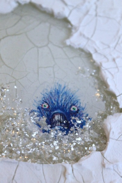 Cave Yeti with sparkle barfBuy it here Acrylic paint, crackle and mica mediums and glossy resin on canvas  Mike Boston © 2012