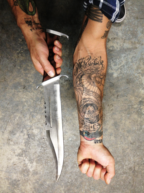 Long blade, tattoos