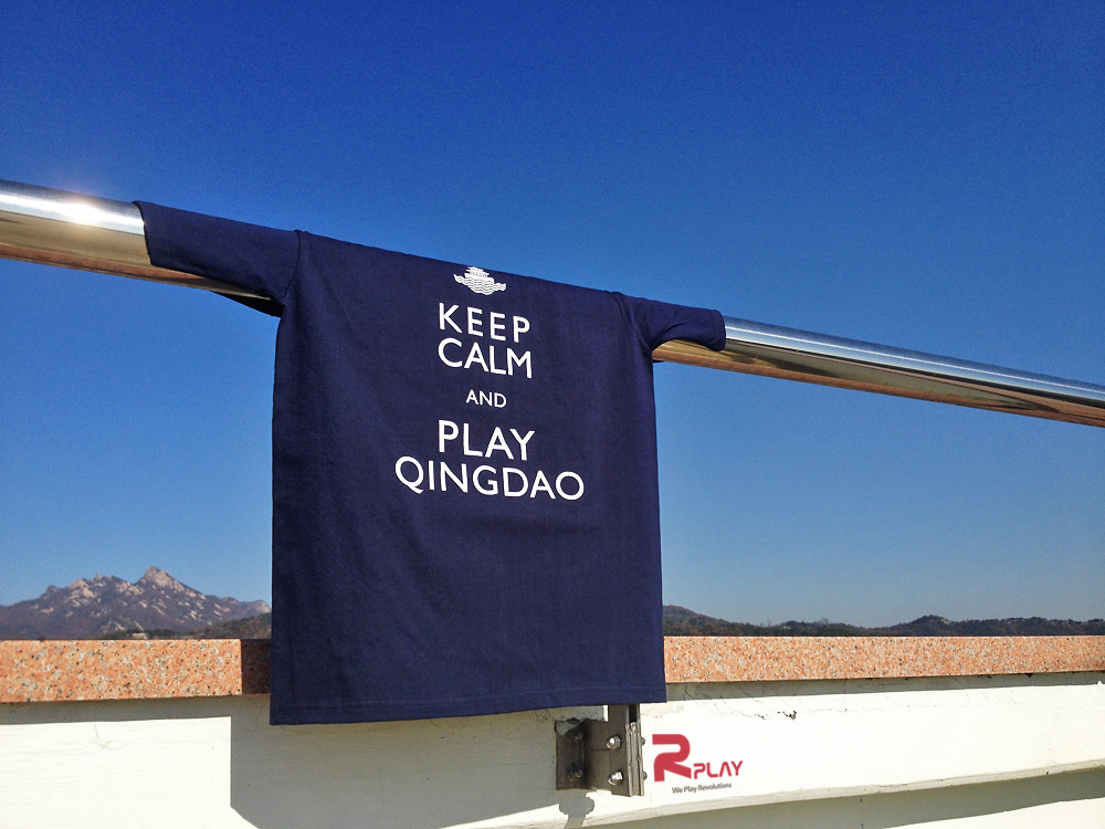 hellorplay:  참 잘생긴  알플레이 [ Keep Calm and play 'Qingdao' ! ]  Navy 컬러 티셔츠입니다.  갖고싶죠?  we made navy version too!  check #Redcolor  KCDQ T-shirts