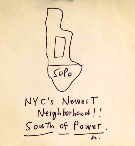 "nevver:  SoPo  Apparently my neighborhood just got power back; Alphabet City has seceded from SoPo.   My impression while walking through Lower Manhattan at night without power: ""Is this what New York was like in the 80s?!"""