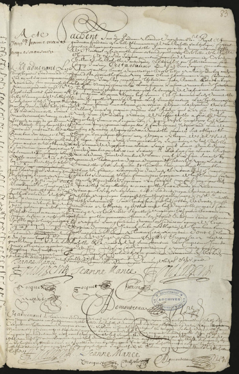 Contract between Jeanne Mance, residing on the Island of Montréal, and Jacques Mousnier, merchant of La Rochelle, for the transport to Québec, aboard the ship Saint-André, of 31 persons, including women and children, May 5, 1659 FR AD17 3E 316 fol. 83 @credits  To ensure the colony's growth, labourers, carpenters, masons and domestic servants were regularly recruited in France. They were generally employed under contract or indentured for a period of three years. In exchange for their work for a set period of time, the recruiter paid the cost of passage and provided wages, lodging and food. Even if, in some cases, employers promised to pay for return passage at the end of the contract or provide the indentured workers with the means of subsistence and establishing themselves in the colony, the difficult living conditions sometimes induced people to return to France. Indentured workers made up a large number of the emigrants.