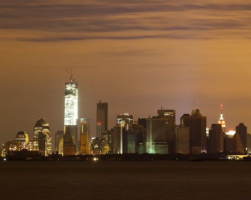 New York City, Semi-Lit Following Hurricane Sandy, a lot of buildings still don't have power, making for an interesting skyline. Shot from 69th Street pier in Bay Ridge, Brooklyn.