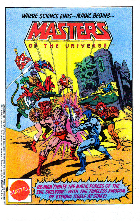 Advertisement of the Masters of the Universe toyline launch in 1982. These Conan-inspired toys, animated series and comics were very successful between 1983 and 1986.