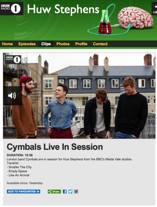 CYMBALS live session for Radio 1, including two new tracks and an interview with singer, Jack. Listen here.Tracklisting'Smaller The City''Empty Space''Like An Animal'