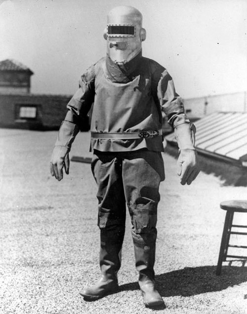 """Full-length view of the first pressure suit made by Wiley Post, constructed at the BF Goodrich plant in California, 1934. This suit had no restraint system and Post was unable to bend his joints when pressurized. The book Spacesuits: The Smithsonian National Air and Space Collection states that this was the first of the three pressure suits made for Post."" (via)"
