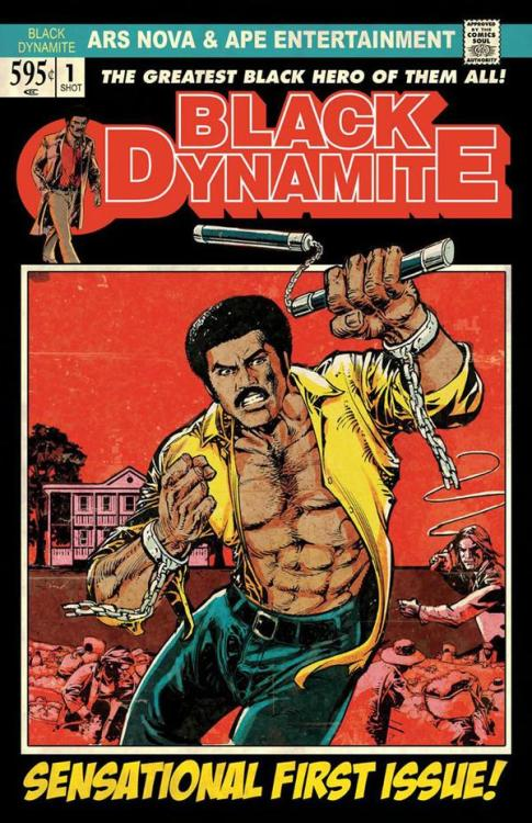 GO: Black Dynamite As far as design references go, the cover for the Black Dynamite comic can do nothing wrong in my eyes. Its incredibly difficult to do a proper pastiche or retro design using current tools: more often than not the design gets clouded by a idealised/stylised idea of what we think it should look like. Usually this translates in using too many period fonts, and ravaging the design with faux dust and paper creases, which is luckily kept to an absolute minimum here.