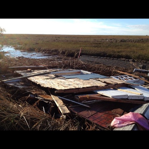A #roof and a wall in the #marsh due to #sandy. #manahawkin #newjersey #lbi