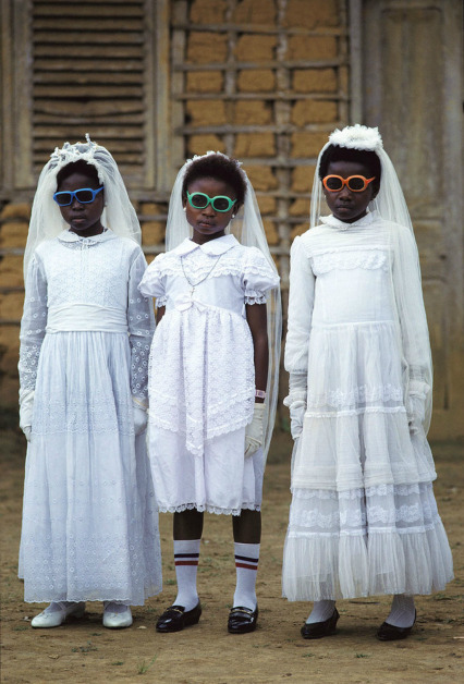 scumptious:  nicholevanbeek: Pascal Maitre Bata children after their first Communion.  Equatorial Guinea, 1989