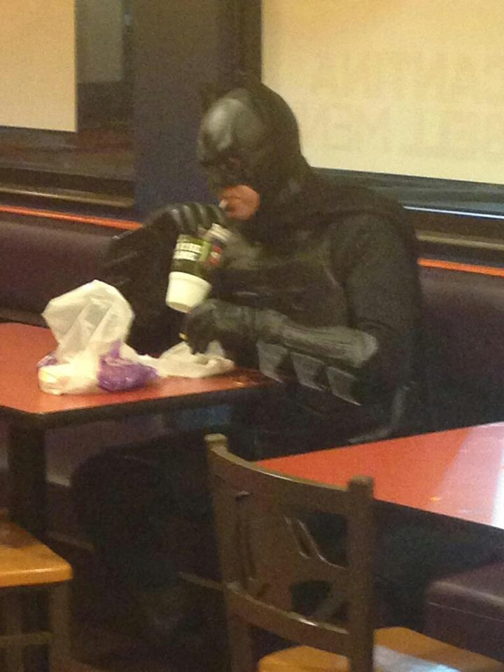 dorkly:  Batman Grabs Some Taco Bell It's the gordita combo meal he needs, not the one he deserves.   Funny and lame lol
