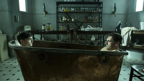 Jon Hamm and Daniel Radcliffe share a tub.  Can we start a caption contest please?  We'll start: No, Daniel, that's not the soap.