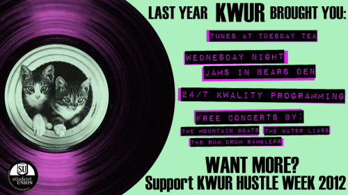 KWUR Hustle Week is nearly upon us! I believe that student radio provides a valuable service to this campus, and hopefully you do too! So support KWUR!  The above picture is from 2012. The message is still relevant. Also cats.