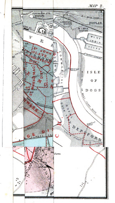Map of London and Thames left folded. From On the Mode of Communication of Cholera by John Snow (1855). Original from the Bavarian State Library. Digitized December 1, 2009.