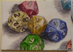 Roll the Dice: original watercolor ACEO