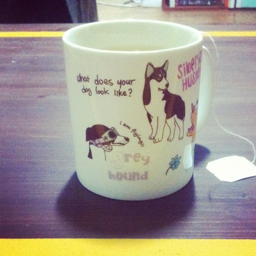 Jeremy bought some amazing coffee mugs at daiso. I miss Stan. #greyhound