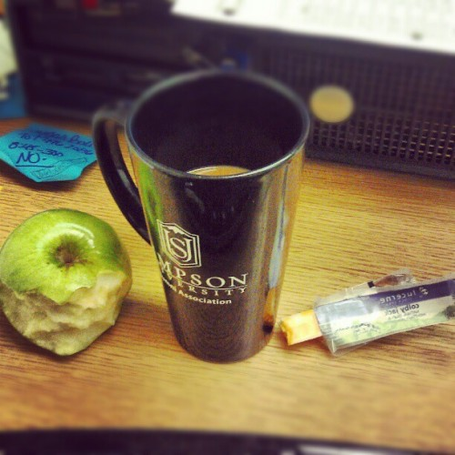 #breakfast of champions. Happy #Friday! So wanting to be done with #work. #apples #coffee #cheese #Simpsonuniversity #alumni