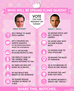meanromneys:  Voting on November 6 is totally grool. We're endorsing Barack Obama. Pass it on.