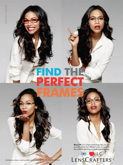 "Zoe Saldana is the new face for LensCrafters Ad Campaign.  She'll be working with the brand for the new ""My Look"" service that lets customers try on four frames and take high-definition photos to compare each style side-by-side."