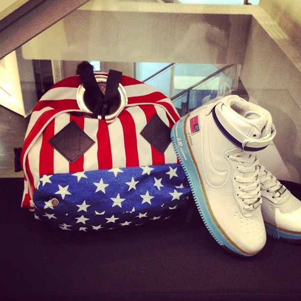 God bless America. Bag Bless x Eastpak x colette. Nike Air Force One Presidential. #colette #colettestore #bless #eastpak #nike