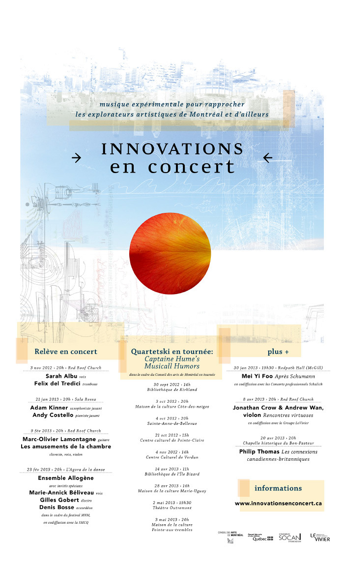 poster/listings for Innovations en concert 2012/2013 season www.innovationsenconcert.ca