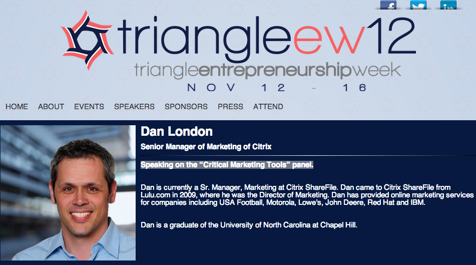"I'll be peaking on the ""Critical Marketing Tools"" panel Triangle Entrepreneurship Week  Tickets still available here."