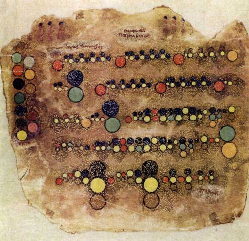 "continuo-docs:  Ancient Egyptian music notationFrom a set of 6 parchments described by German musicologist Hans Hickmann in his 1956 book Musicologie Pharaonique, or Music under the Pharaohs, as dating from the 5th to 7th centuries C.E. Colors are presumed to indicate pitch and size to indicate duration. Writings on the parchment are in Coptic with indications like ""Spiritual Harmony"" and ""Holy Hymn Singer"". This manuscript had a profound influence on Egyptian composer Halim El-Dabh's music notation and paintings when he discovered a reproduction in Vogue magazine in 1952. Note: I wasn't able to locate these manuscripts and couldn't find any reference to them online, but they are presumably in NY's Metropolitan Museum collections. This image comes from Theresa Sauer's book Notations 21, Mark Batty Publisher, USA, 2009."
