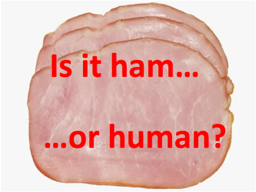 "Does your ham contain human genes? You wouldn't know unless it's labeled. Vote for Prop 37. Stand with the millions of Californians who believe genetically engineered ingredients shouldn't be secret. Pigs with human growth genes are among the creatures that food scientists have invented. Experimental life forms are sold today as ""all natural"" food. Does that sound natural to you? In 62 other countries, genetically engineered foods are labeled. If you think Americans deserve the same protection, click ""like"" and share this message. Join the movement to support Prop 37. www.carighttoknow.org (See pig and human discussion http://truefoodnow.org/campaigns/genetically-engineered-foods)"