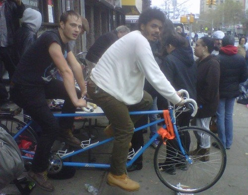 "anarcho-queer:    Occupy Wall Street Bikes Power NYC's Lower East Side NYNatives.com talked to residents of C- Squat on the Lower East Side Thursday and learned they've been biking their way to a dry environment using none other than the Occupy Wall Street bicycle generators. Water, water everywhere. New York City's Lower East Side is bailing itself out after flooding caused by Hurricane Sandy engulfed the neighborhood earlier this week. Here's an excerpt from the full story: ""The residents of C-Squat have set up 2 grills, are receiving food donations and are essentially feeding the neighborhood. After pumping out there own basement and rescuing the Occupy Wall Street bikes, the residents pumped out the water from the bar next door and the deli on the corner. As one C-Squat resident exclaimed:'It's like a block party!'"" According to The Museum of Reclaimed Urban Space (MoRUS), these same bikes were used to give power to the protestors in Occupy Wall Street last year. ""In a press release as of November 1, MoRUS shared ""The Museum of Reclaimed Urban Space (MoRUS) is using one of its exhibits to provide the community with free cell phone charging. Working with environmental group Times Up, MoRUS has set up Occupy Wall Street bike generators on Avenue C between 9th and 10th Street. For the past two days, volunteer riders have been pedaling as crowds of people gather to charge up their cell phones. For many people, this has been the first time they've been able to contact loved ones after Hurricane Sandy hit earlier this week. Meanwhile, C-Squat, the squat which houses MoRUS, has set up a street-side barbecue. They have been accepting donations and providing the community with free food."""