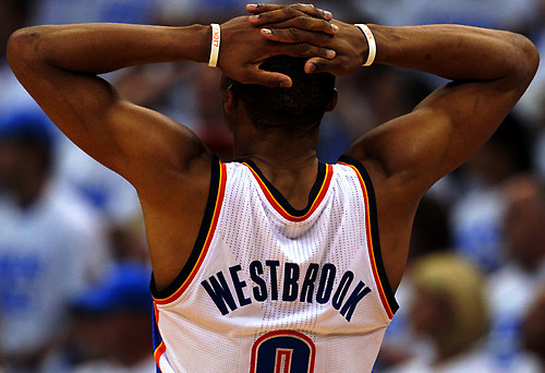 Photo: Russel Westbrook.. and every OKC fan react to Tony Parker's game winner.