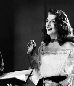 Rita Hayworth behind the scenes of Gilda, c. 1946.